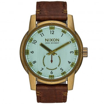 Nixon Patriot Leather Watch - Brass/Green Crystal/Brown