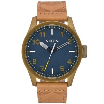 Nixon Safari Leather Watch - Brass/Navy/Hickory