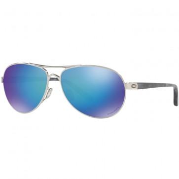 Oakley Women's Feedback Polarized Sunglasses - Polished Chrome/Prizm Sapphire