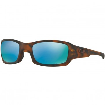 Oakley Fives Squared Polarized Sunglasses - Matte Tortoise/Prizm Deep Water
