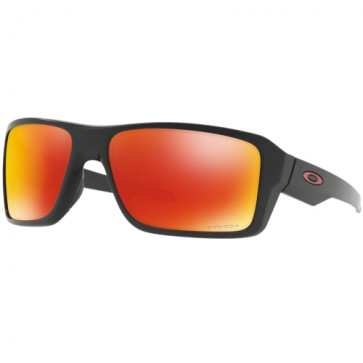 Oakley Double Edge Polarized Sunglasses - Matte Black/Prizm Ruby
