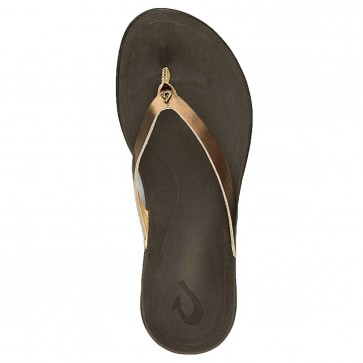 Olukai Women's Ho'opio Leather Sandals - Bronze/Dark Java