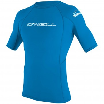 O'Neill Youth Skins Short Sleeve Crew Rash Guard - Bright Blue