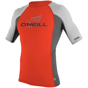 O'Neill Wetsuits Skins Short Sleeve Crew - Neon Red/Graphite/Lunar