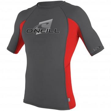 O'Neill Skins Short Sleeve Crew Rash Guard - Smoke/Red