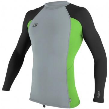 O'Neill Wetsuits Premium Skins Long Sleeve Crew Rash Guard - Cool Grey/Dayglo/Black