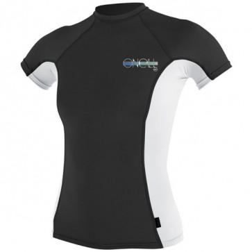 O'Neill Wetsuits Women's Skins Short Sleeve Crew Rash Guard - Black/White