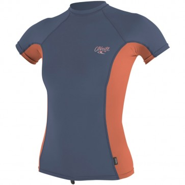 O'Neill Wetsuits Women's Premium Skins Short Sleeve Rash Guard - Mist/Coral Punc