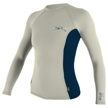 O'Neill Wetsuits Women's Skins Long Sleeve Crew Rash Guard - Vanilla/Slate