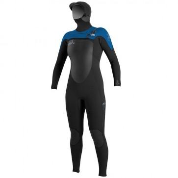 O'Neill Women's SuperFreak 5/4 Hooded Wetsuit - Black/DeepSea/Spyglass