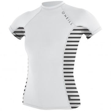 O'Neill Wetsuits Women's Side Print Crew - White/Rio Stripe