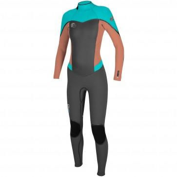 O'Neill Women's Flair 4/3 Wetsuit - Graphite/Grapefruit/Aqua