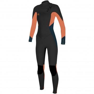 O'Neill Women's O'Riginal 4/3 Chest Zip Wetsuit - Black/Slate/Grapefruit