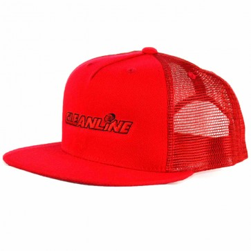 Cleanline Corp Logo Flat-Bill Mesh Hat - Red