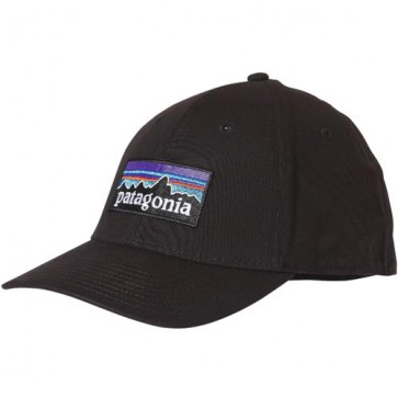 Patagonia P-6 Logo Stretch Fitted Hat - Black
