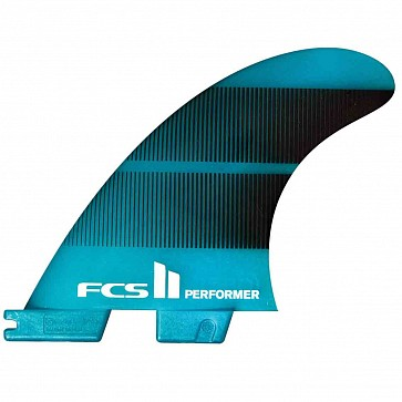 FCS II Fins Performer Neo Glass Large Tri Fin Set - Teal Gradient