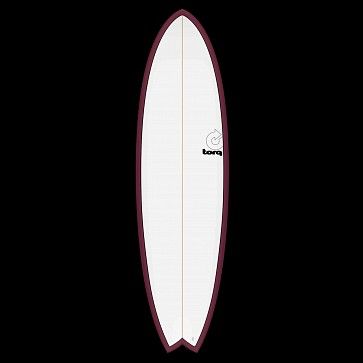 Tork Mod Fish 6'6 x 21 x 2 5/8 Surfboard - Burgandy/White - Deck