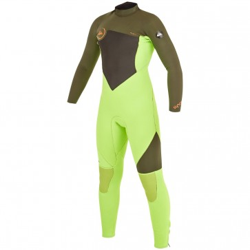 Quiksilver Youth Syncro 3/2 Flatlock Back Zip Wetsuit - Lime/Ivy
