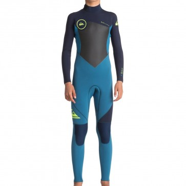 Quiksilver Youth Syncro 4/3 Back Zip Wetsuit - Marina/Blue Nights/Safety Yellow