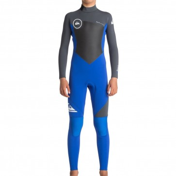 Quiksilver Youth Syncro 4/3 Back Zip Wetsuit - HV Royal/Gunmetal/White