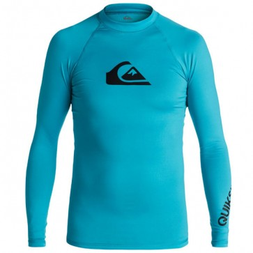 Quiksilver Wetsuits Youth All Time Long Sleeve Rash Guard - Blue Danube