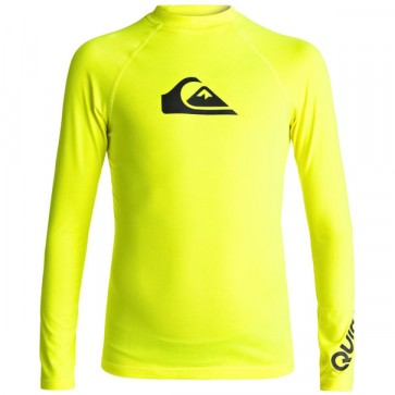 Quiksilver Wetsuits Youth All Time Long Sleeve Rash Guard - Safety Yellow