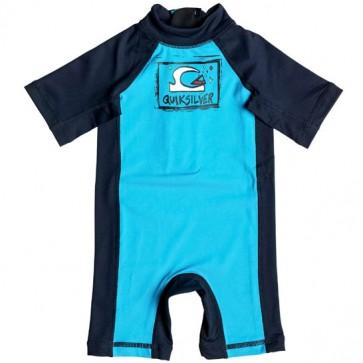 Quiksilver Wetsuits Infant Bubble Rash Spring Suit - Blue Danube/Navy Blazer