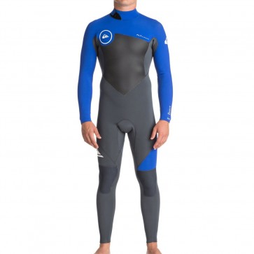 Quiksilver Syncro 3/2 Back Zip Wetsuit - Gunmetal/HV Royal/White