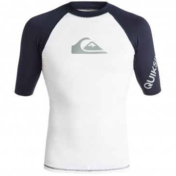 Quiksilver Wetsuits All Time Rash Guard - White/Navy Blazer