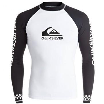 Quiksilver Wetsuits On Tour Long Sleeve Rash Guard - White/Black