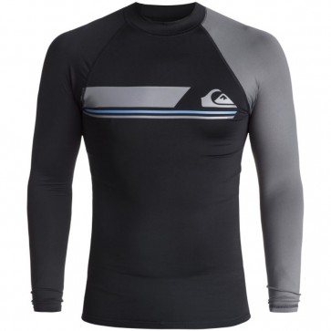 Quiksilver Wetsuits Active Long Sleeve Rash Guard - Black/Iron Gate