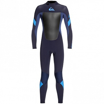 Quiksilver Youth Syncro 3/2 Back Zip Wetsuit - Dark Navy/Iodine Blue