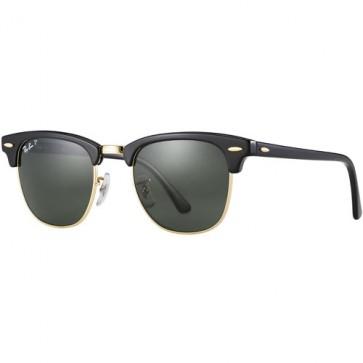 Ray-Ban Clubmaster Polarized Sunglasses - Black/Crystal Green