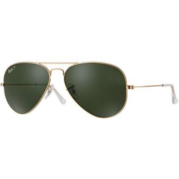 Ray-Ban Aviator Classic Polarized Sunglasses - Gold/Crystal Green