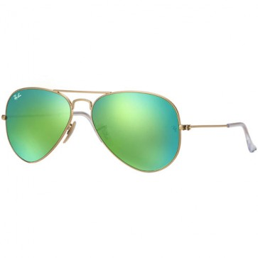 Ray-Ban Aviator Sunglasses - Matte Gold/Crystal Green Mirror