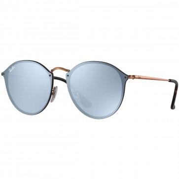 Ray-Ban Blaze Round Sunglasses - Bronze Copper/Blue Silver Mirror