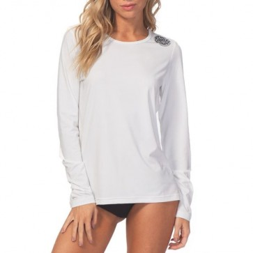 Rip Curl Wetsuits Women's Whitewash Long Sleeve Rash Guard - White