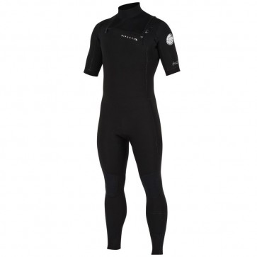Rip Curl Aggrolite 2mm Short Sleeve Chest Zip Wetsuit - Black