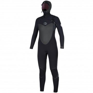 Rip Curl Women's Flash Bomb 5/4 Hooded Chest Zip Wetsuit - Black