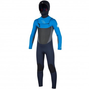 Rip Curl Youth Dawn Patrol 5/4 Hooded Chest Zip Wetsuit - Slate