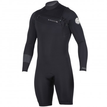 Rip Curl Aggrolite 2mm Long Sleeve Chest Zip Spring Suit - Black