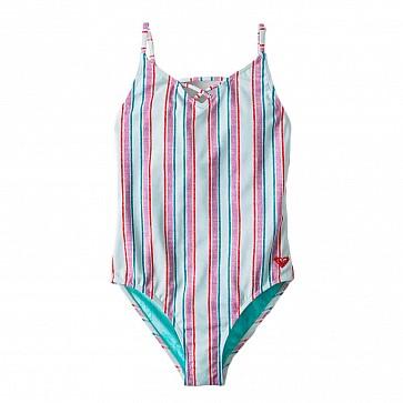 Roxy Youth Girls Treasure Stripe One-Piece Swimsuit - Wan Blue Treasure