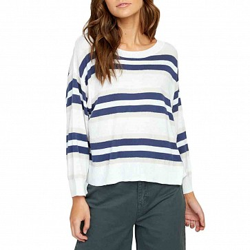 RVCA Women's One Up Striped Sweater - Whisper White