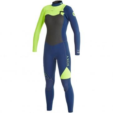 Roxy Women's AG47 Performance 3/2 Chest Zip Wetsuit - Navy/Lemon