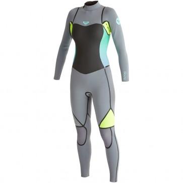 Roxy Women's Syncro LFS 3/2 Back Zip Wetsuit - Dark Grey/Lemon
