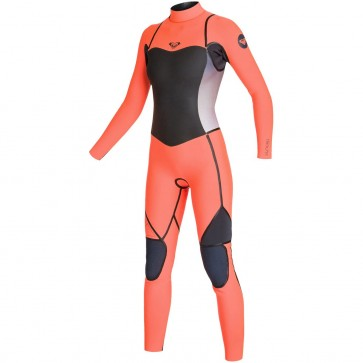 Roxy Women's Syncro LFS 4/3 Back Zip Wetsuit - Graphite/Peach
