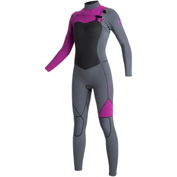 Roxy Women's AG47 Performance 4/3 Chest Zip Wetsuit - Deep Grey/Violet