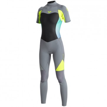 Roxy Women's Syncro 2mm Short Sleeve Full Wetsuit - Dark Grey/Lemon