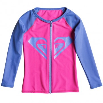 Roxy Wetsuits Youth Front Zip Long Sleeve Rash Guard - Fuchsia
