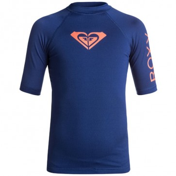 Roxy Youth Girls Whole Hearted Short Sleeve Rash Guard - Blue Depths